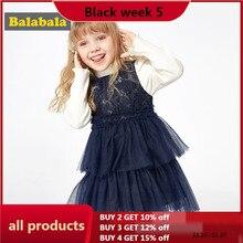 Balabalaガールのドレス2020新しい秋と冬服の子供プリンセスドレスカジュアルドレスセータースカート