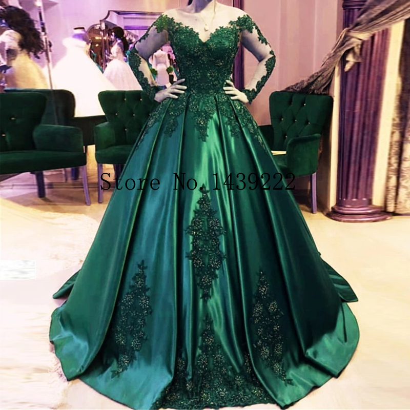 Sofuge Green Ball Gown Satin Evening Dress Beads Appliques Celebrity Formal Dresses Robe De Soiree Wedding Party Gown Lace Up