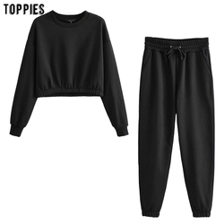 toppies women two piece set cropped sweatshirts elastic waist pencil pants solid color fall tracksuits