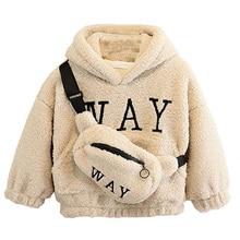 Sweatshirts Hooded Long-Sleeves VFOCHI Girl Children Boy Winter Unisex with Bag Wool
