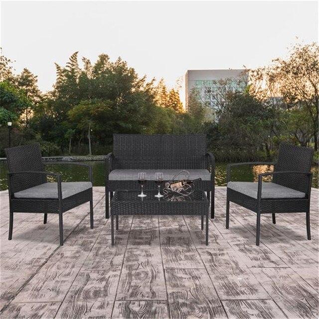 4 PCS Outdoor Patio Rattan Wicker Furniture Set 3