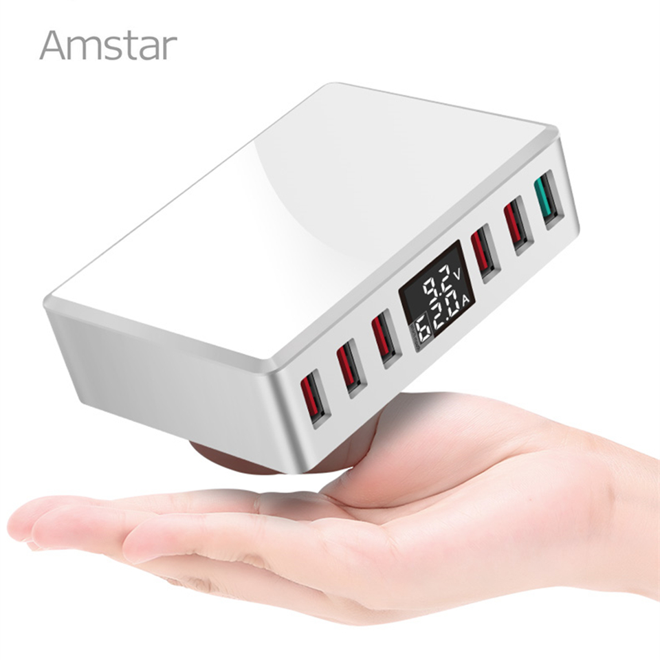 Amstar 40W Quick Charge 3.0 <font><b>USB</b></font> <font><b>Charger</b></font> Adapter 6-Ports Led Display <font><b>QC3.0</b></font> <font><b>USB</b></font> Phone <font><b>Charger</b></font> for iPhone Samsung Huawei Xiaomi image