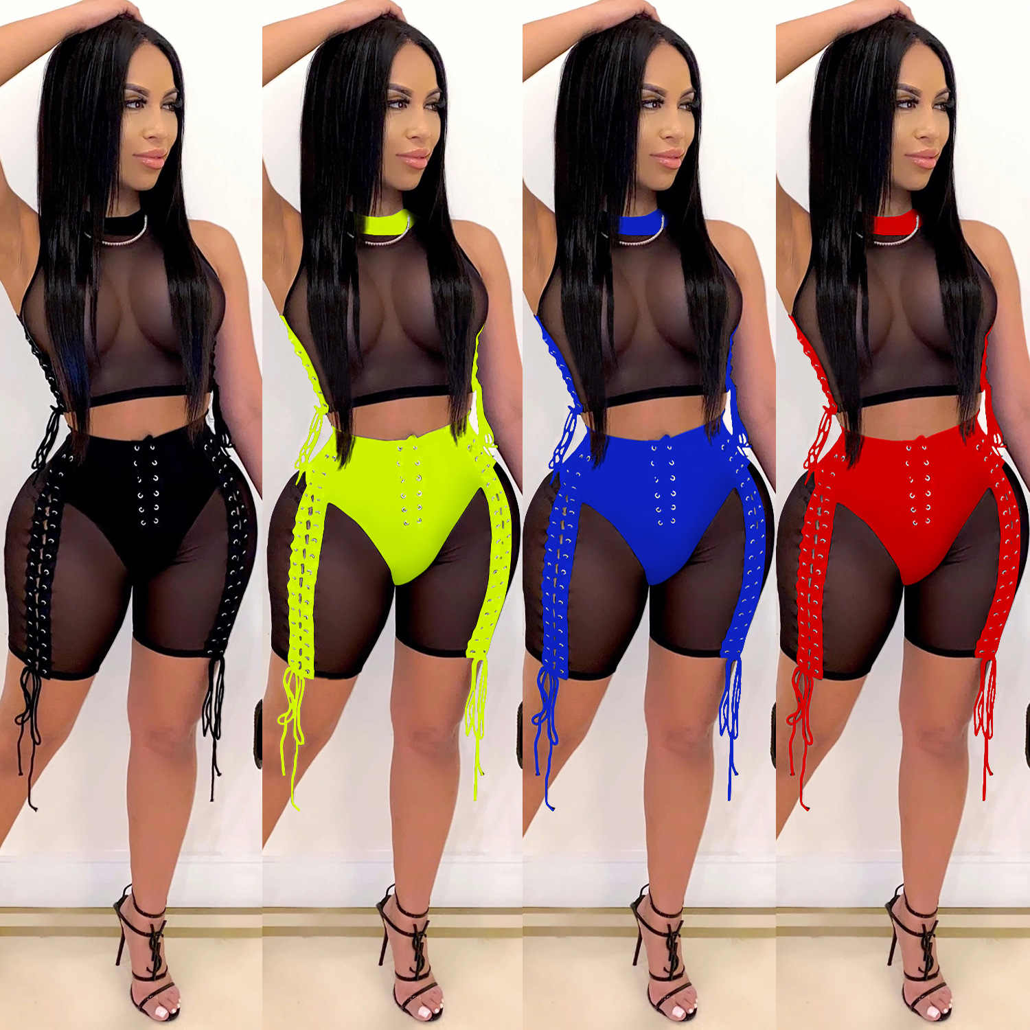 Zoctuo Vrouwen Lace Up Sexy Trainingspak Twee Delige Set Mesh See Hoewel Patchwork Tops En Shorts Pak Club Party Fitness outfits