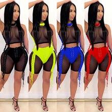 Zoctuo kobiety zasznurować seksowny dres dwuczęściowy zestaw Mesh zobacz choć Patchwork topy i szorty garnitur Club Party Fitness stroje