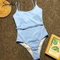 Simplee one piece blue swimsuit female Push up swimwear women bathing suit Sexy bikini 2019 new Monokini string bodysuit new