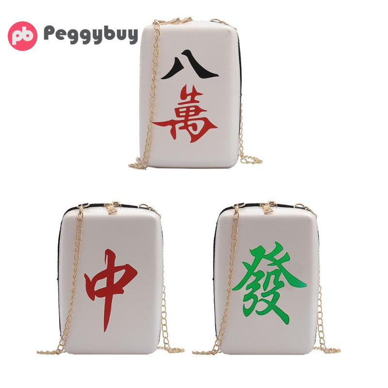2019 New Women Mahjong Printing Shoulder Bags Pu Leather Designer Messenger Bags Girls Cute Crossbody Bags Purses And Handbags