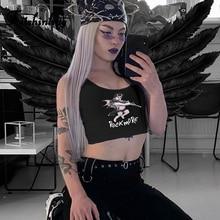 Fitshinling Goth Dark Aesthetic Print Harajuku Women Tanks Tops Grunge Slim Fashion Black Sleeveless Shirt Female Crop Top Vests