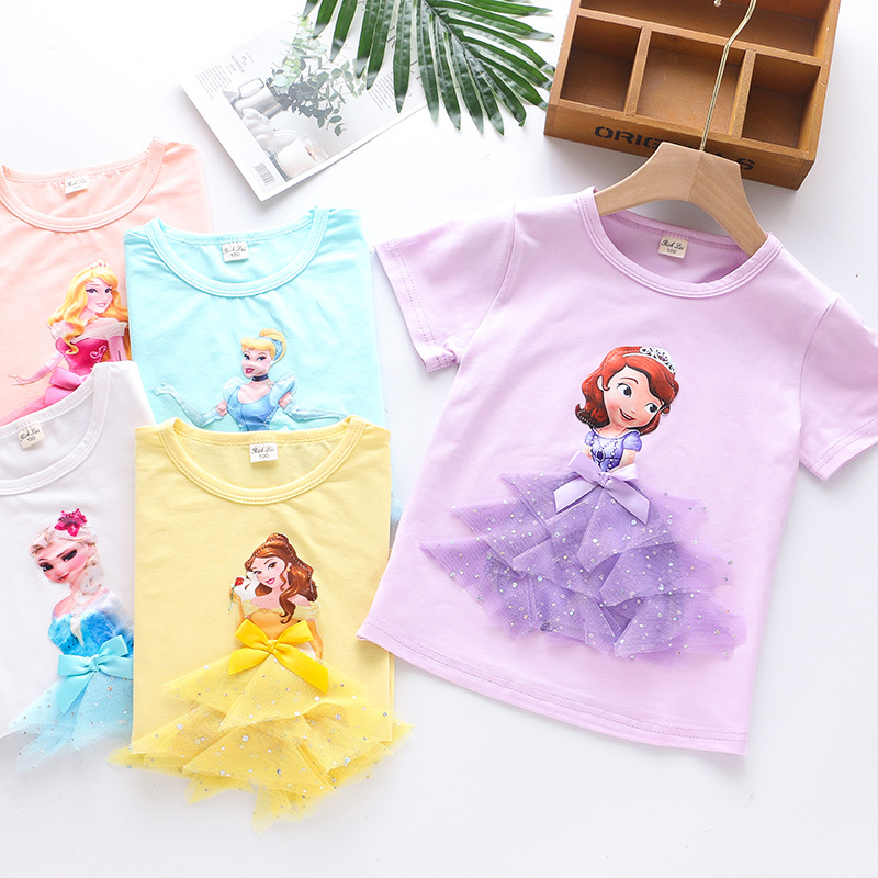 2020Girl Summer Princess T-Shirt Elsa Aurora Childen Cotton Tees Lace T Shirt 3D Sofia Appliques Kid Birthday Top Clothing Shirt