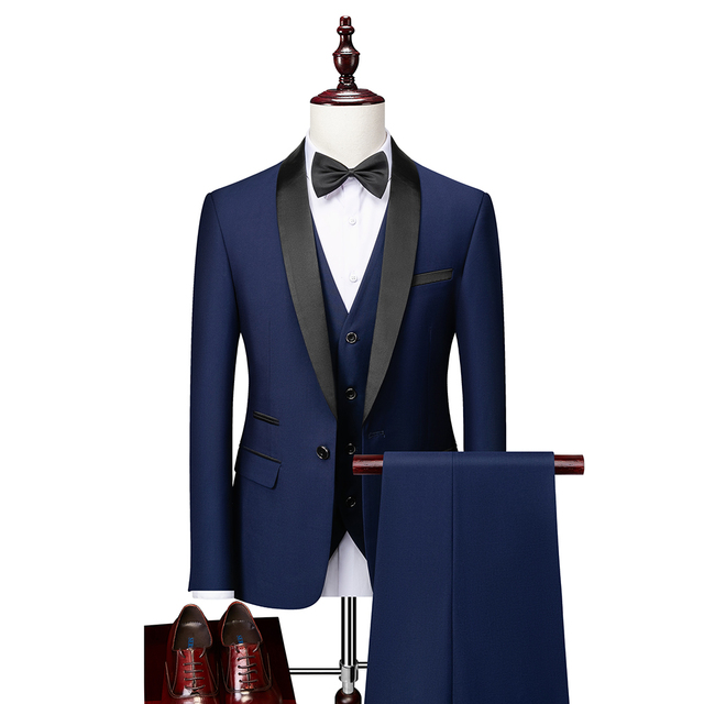Men Skinny 3 Pieces Set Formal Slim Fit Tuxedo Prom Suit / Male Groom Wedding Blazers High Quality Dress Jacket Coat Pants Vest 5