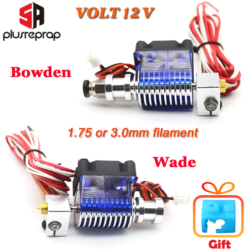 Lastest V6 J-head All Metal Hotend Wade Or Bowden Extruder Heater Thermistor Fan Nozzle Heat Sink For 1.75/ 3mm 3D Printer Part