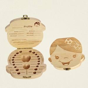 Organizer Souvenir Tooth-Box Milk-Teeth-Storage Gifts Keepsake Baby Wood Umbilica Save