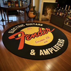 Fender Guitar Round Carpet Rock Floor Mats Flannel Printed Area Rug Sound Insulation Pad For Music Room Bedroom Home Decorative