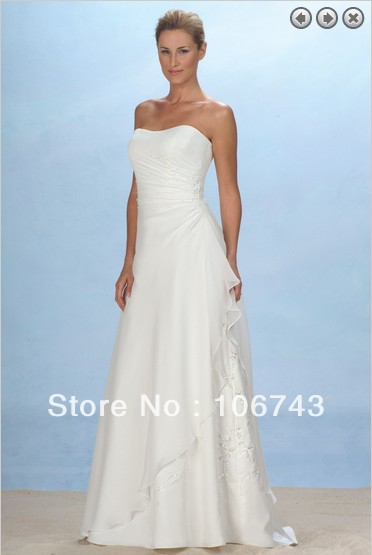 Free Shipping Brautkleid  Maxi Dresses 2016 Bridal Gowns Embroidery Vestidos Formaleswhite Long Dress Chiffon Bridesmaid Dresses
