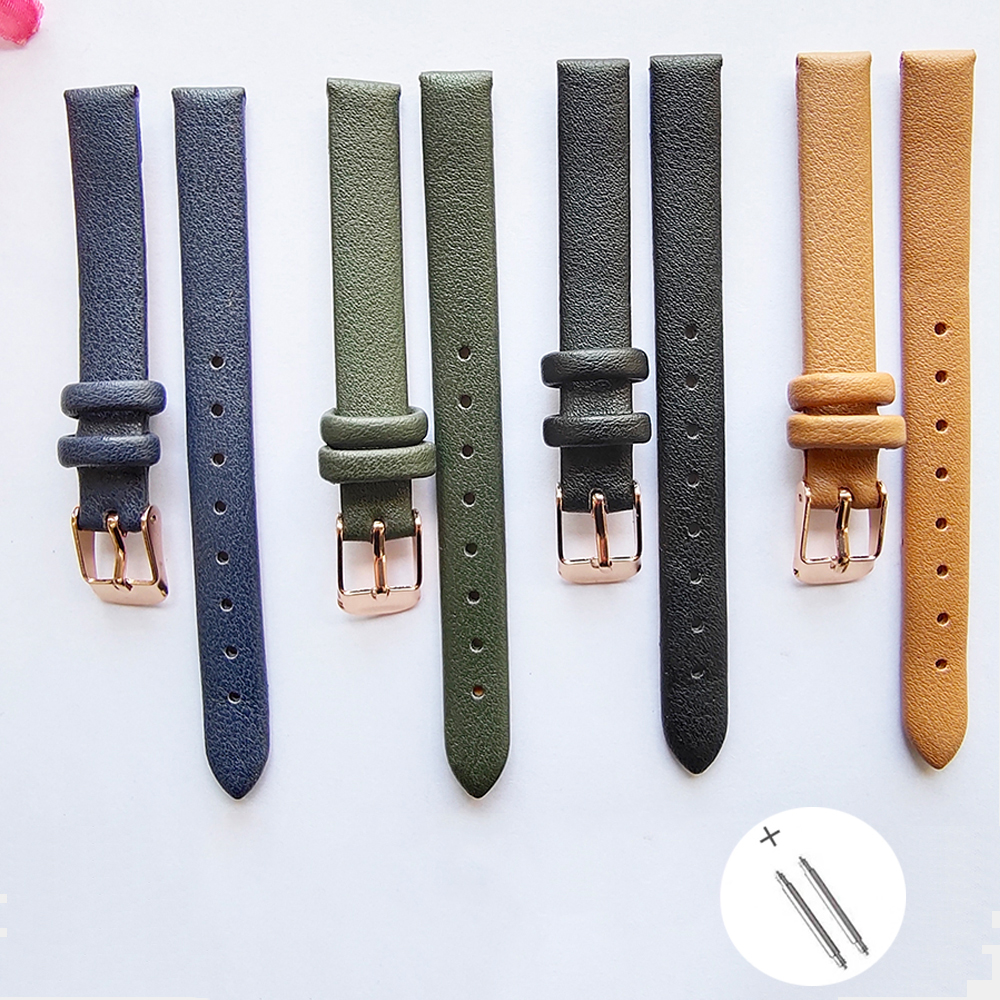 Watch Band For Women Handmade Leather With Rose Gold Buckle Strap Bracelet Accessories For Watchband 10mm