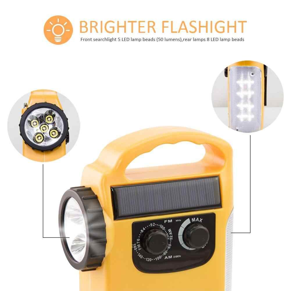 RD339 tiempo de emergencia AM/FM Radio dinamo luz Solar manivela de mano linterna LED autoalimentada Cargador Solar banco de energía Radio 3 en 1