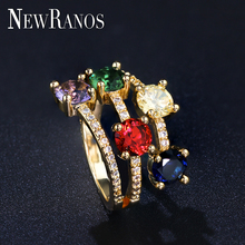 Newranos Multilayer Ring Natural Rainbow Cubic Zirconia Baguette Colored Female for Women Fashion Jewelry RYL002282