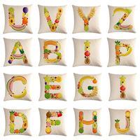 Englisch Alphabet Cushion Cover Fruit 45x45cm Cotton Linen Home Decor decor letter Throw pillow cover