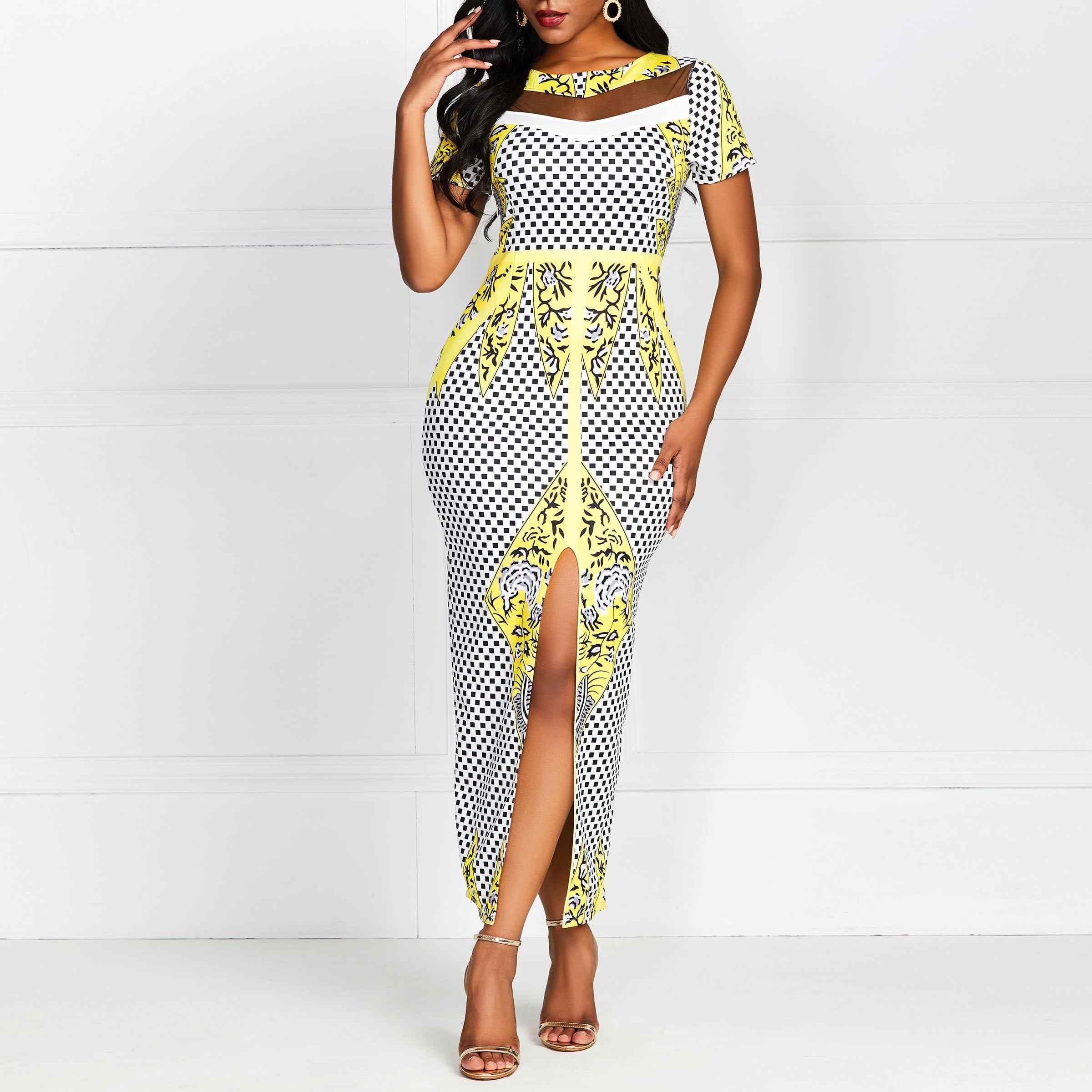 Женское летнее облегающее длинное платье, Сетчатое прозрачное, вечерние, сексуальные, Роскошные, желтые, с цветочным рисунком, в клетку, элегантные, с разрезом, макси платья для женщин