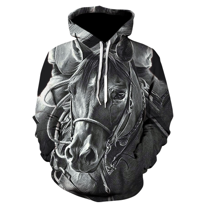Horse Print Cool Boy Street Wear Thin Hooded Sweatshirt 3D High Quality Long-sleeve Hip Hop Sport Skateboard Hoodie