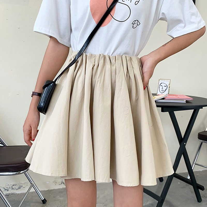 DeRuiLaDy Fashion Women Short Skirt Fall High Waist Pleated Skirt 2019 New Wild Skirt White Kawaii Mini Skirts