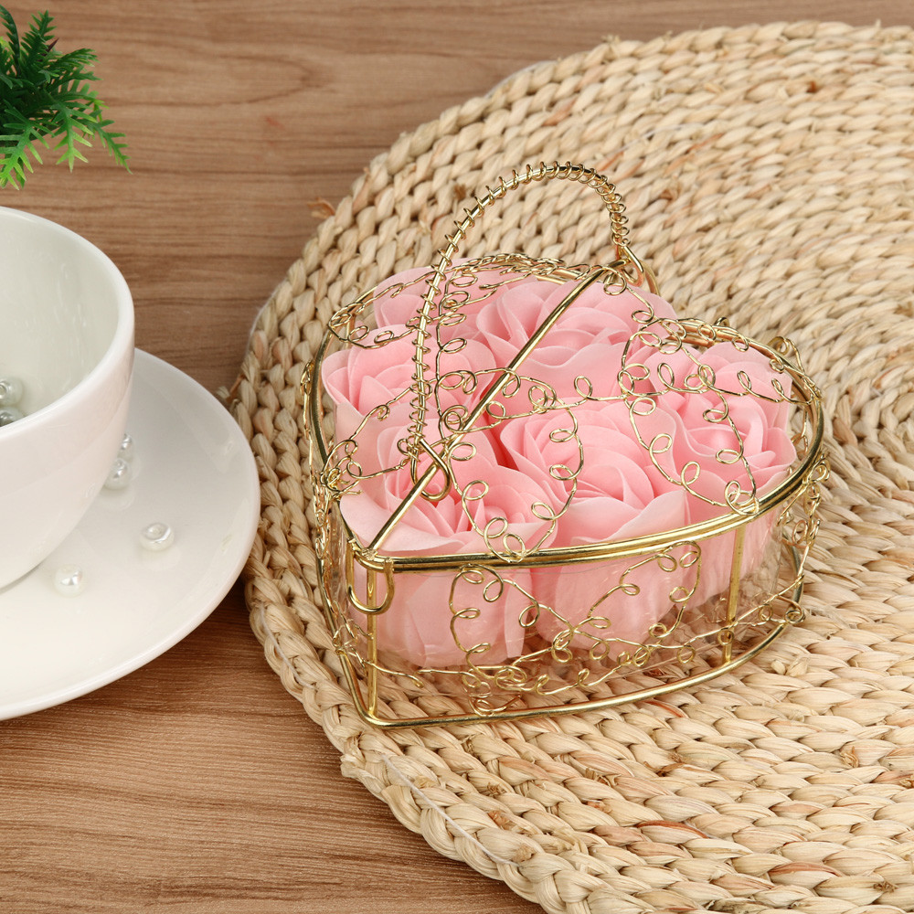Rose Soap Flower Basket Heart Scented Bath Body Petal Rose Flower Soap Wedding Gift Best Decoration Case Festival Box #40