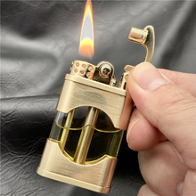 Online store ZORRO New Windproof Metal Kerosene Lighter Transparent Oil Tank Creative Retro Flint Petroleum Lighters Smoking Accessories Gift
