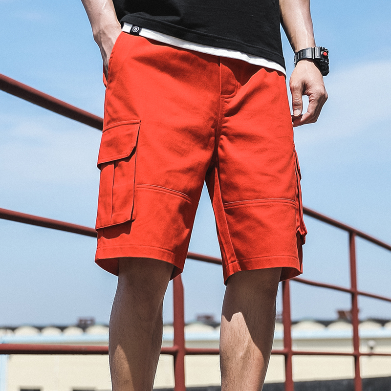 2020 Summer Red Fashion Multi-pockets Men's Cargo Shorts Straight Loose Casual Shorts Male Short Pants