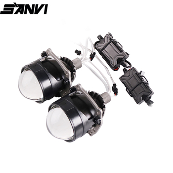 Sanvi 新 2.5 インチミニ自動バイ led プロジェクターレンズヘッドライト 35 ワット 5500 18k 車の自動車の led ヘッドランプ H4 h7 9005 9006 プロジェクターライト