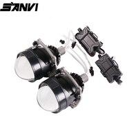 Sanvi New 2.5 inch MINI Auto Bi LED Projector lens Headlight 35W 5500k Car Auto LED Headlamp H4 H7 9005 9005 Projector Light