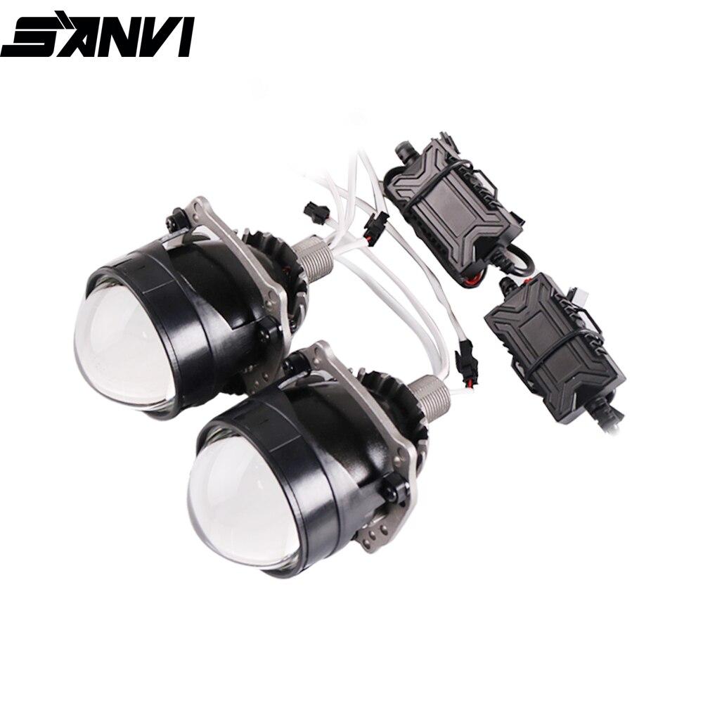 Sanvi plus récent 2.5 pouces MINI Auto Bi projecteur LED lentille phare 35W 5500k voiture Auto LED phare H4 H7 9005 9005 projecteur
