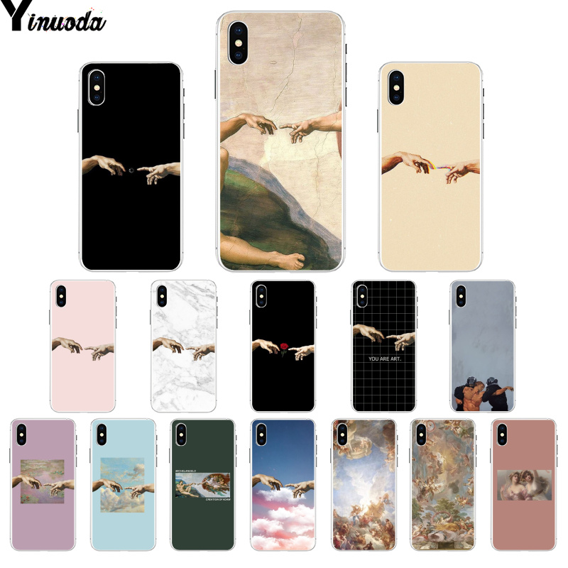 Yinuoda The Creation of Adam Renaissance painting Silicone TPU Phone Cover for iPhone X XS MAX 6 6s 7 7plus 8 8Plus 5 5S SE XR