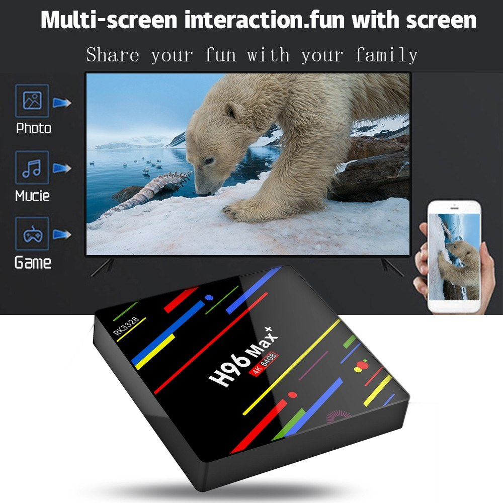 H96 Max Plus Android 9.0 TV Box Quad Core double WIFI RK3328 4GB DDR3 RAM 32GB ROM USB3.0 Support Bluetooth HD Netflix 4K Youtube - 6