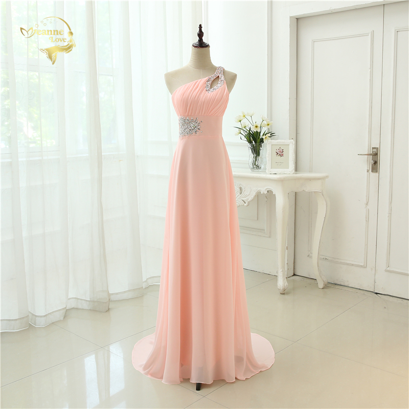 Vestido De Festa Longo Pink Formal Long Evening Dresses 2020 New Arrival One Shoulder Chiffon Robe