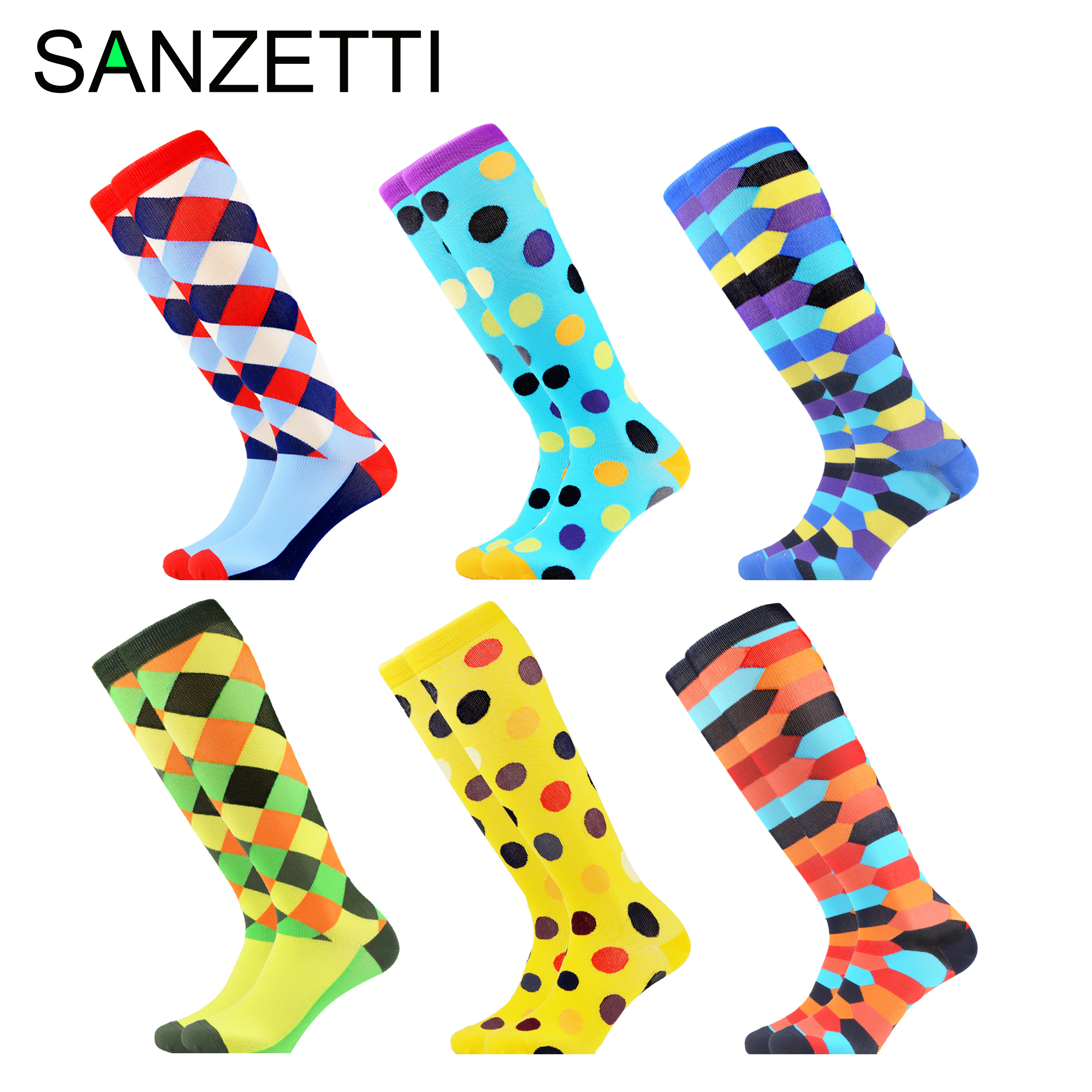 SANZETTI 6 Pairs/Lot Women Colorful Below Knee Design Leg Support Stretch Cotton Compression Socks Dot Anti-Fatigue Happy Socks