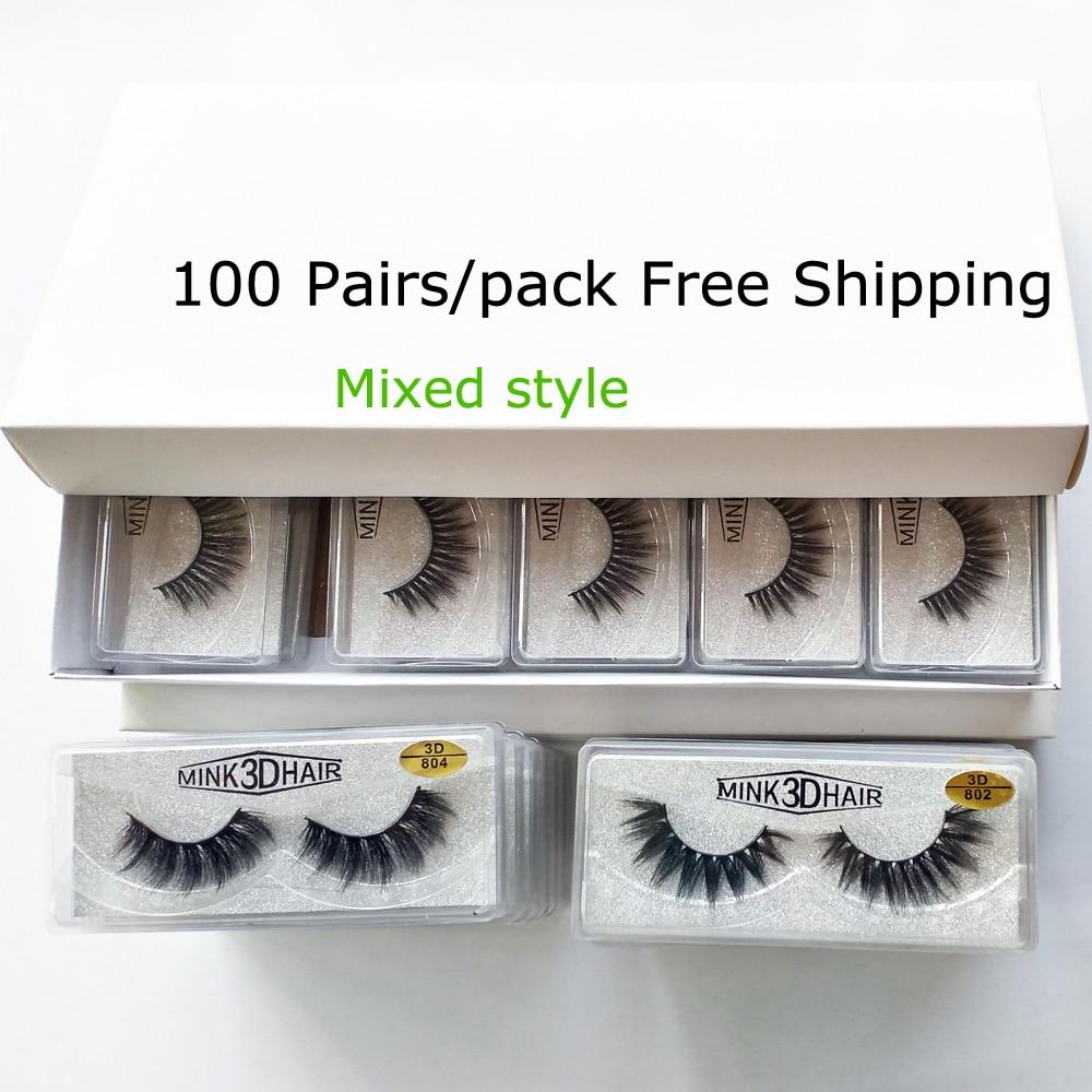 20/30/50/100 Pairs 3D Mink Lashes Wholesale Natural False Eyelashes Hand Made Makeup Long Eye Lashes 3d Mink Eyelashes In Bulk