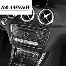 Car Styling Carbon Fiber Style Center Console CD Frame Auto Cover Stickers Trim For Mercedes Benz A GLA CLA Class W176 X156 C117