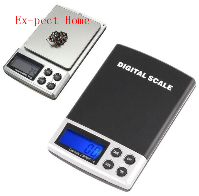 100pcs/lot By Dhl Fedex 2kg 2000g X 0.1g Electronic Digital Jewelry Weighing Portable Kitchen Scales Balance Adapter