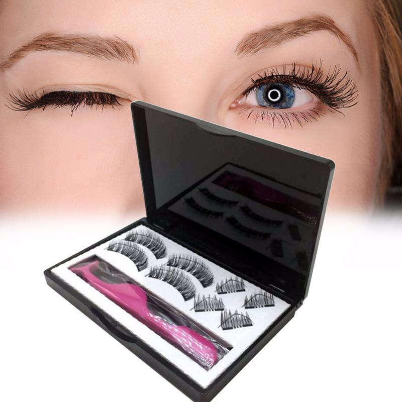 Hot 3D False Eyelashes Double Magnetic Lashes Pure Handmade Natural False Eyelashes Magnet Lashes With Gift Box 8 Pcs Eyelashes