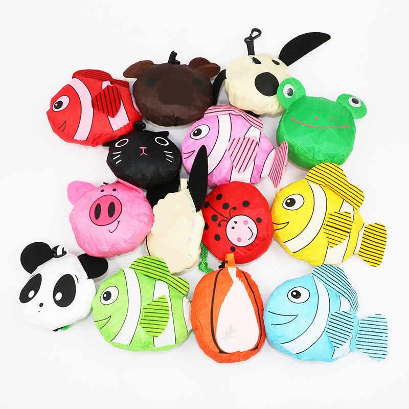 22 цвета, хозяйственные сумки с животными, рыбки, дорожная складная сумка, продуктовая сумка для хранения, многоразовые Мультяшные хозяйственные эко-сумки, 1 шт.