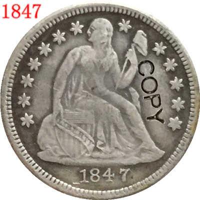 USA 1847 يجلس ليبرتي الدايم نسخة عملات