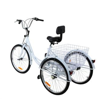 24 inch Adult  Bicycle 3 wheels Bike Beach Cruiser Trike 7 Speed tricycle with Basket