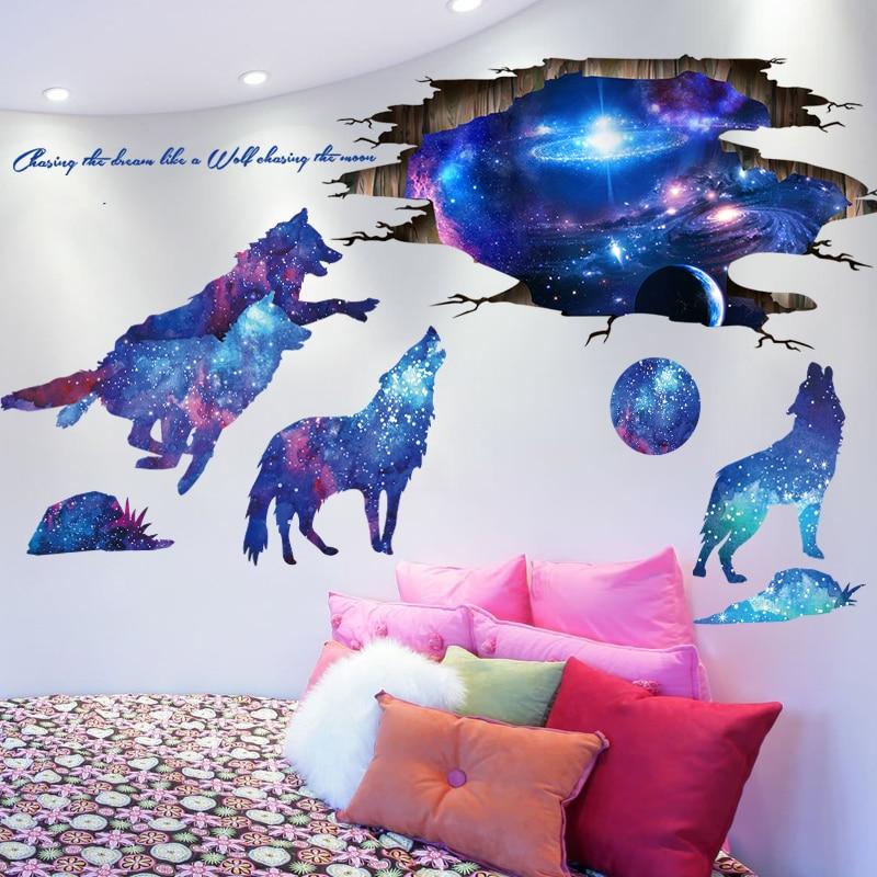 Shijuekongjian Universe Galaxy Wall Stickers Vinyl Diy Moon Wolves Mural Decals For Kids Rooms Baby Bedroom Decoration Aliexpress