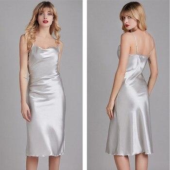Women Silk Sleepwear Pajamas Lingerie Nightwear Sleep Dress Sleeveless Long Size Nightgown Christmas Gift