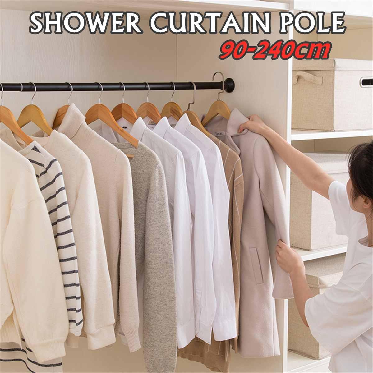 Multifunction Telescopic Shower Curtain Rods Window Rail 90-240cm Extendable Wardrobe Pole Rod Stainless Steel Bathroom Kitchen