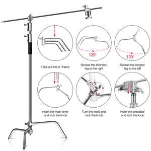 Image 3 - Metal Height 2.6M/8.5FT Adjustable Reflector Tripod Stand with Holding Arm 2pc Grip Head for Photography Studio Video Equipment
