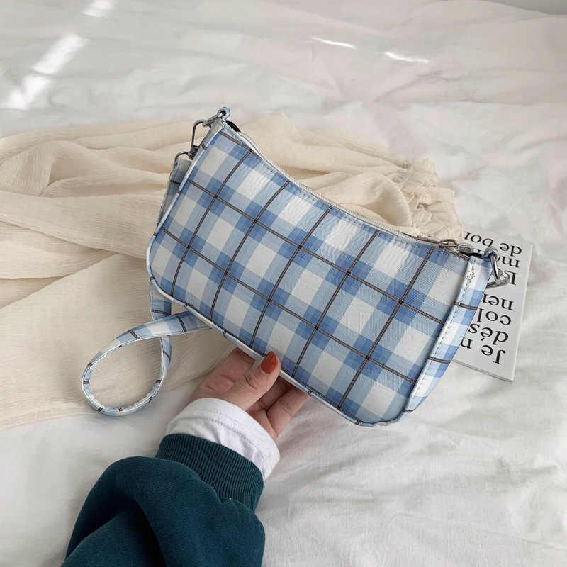 Merek Terkenal Tas Bahu Vintage Retro Kotak-kotak Tas Kantung Femme Hot Sale Bahasa Perancis Wanita Elegan Tangan Kecil Tas Bolsa feminia