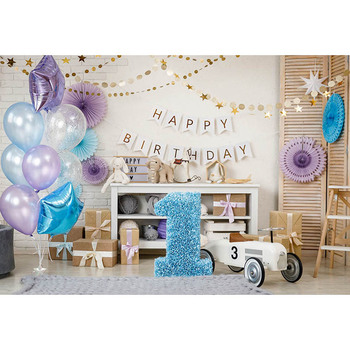 Custom digital printing cloth 1 happy birthday balloons wall photo backgrounds for family party photography backdrops - discount item  28% OFF Camera & Photo