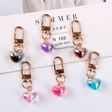 6 Color Heart-shaped Resin Pendant Key Chain Jewelry Girlfriends Gift Geart-shaped Transparent Heart