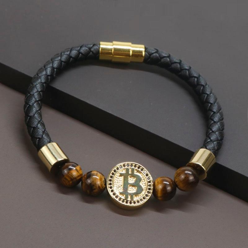 2020 8mm Natural Tiger Eye Stone Luxury Leather Bracelets For Men Gold Color Bitcoin Bracelet Men Pulseira Masculina BT-8 1