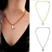 Fashion Necklace Women Men Choker Couple Lock Pendant Padlock Long Charm Silver Gold Chain Lady Jewelry Gift